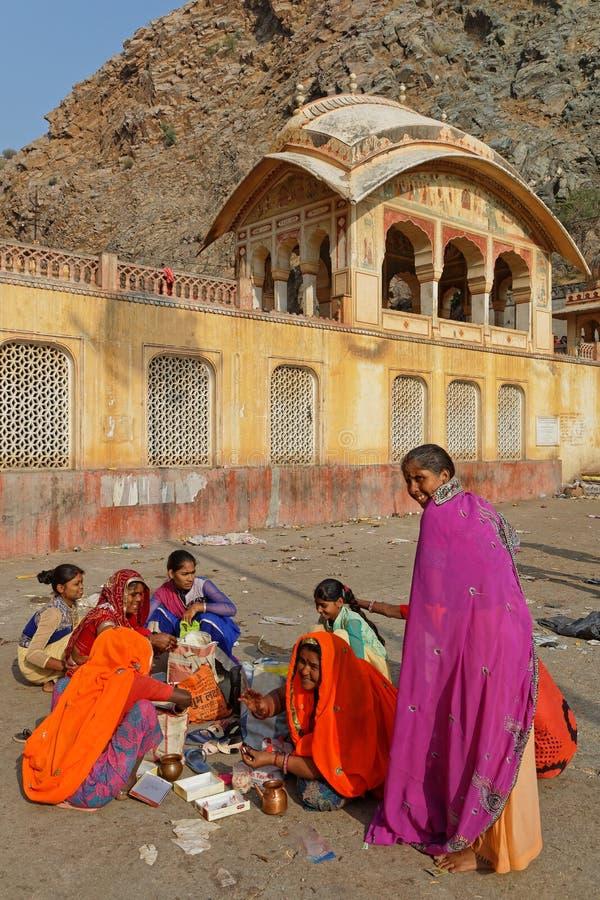 Women at Galtaji temple near Jaipur stock photos