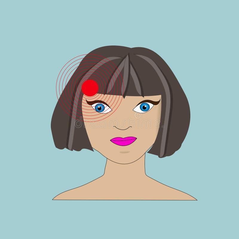 Woman having headache, migraine and pain stock illustration