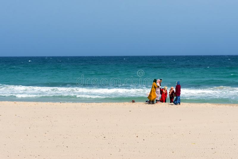 Women and Girls on the beach of Souse, Tunisia stock photos