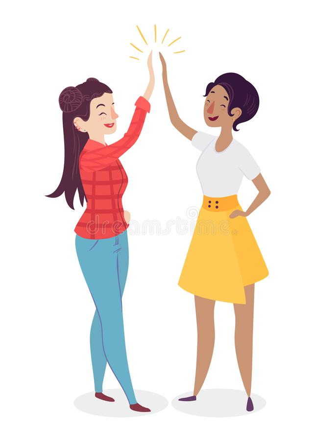 Women giving high five. People having a vibrant social life. Human interaction concept. Female team. royalty free illustration