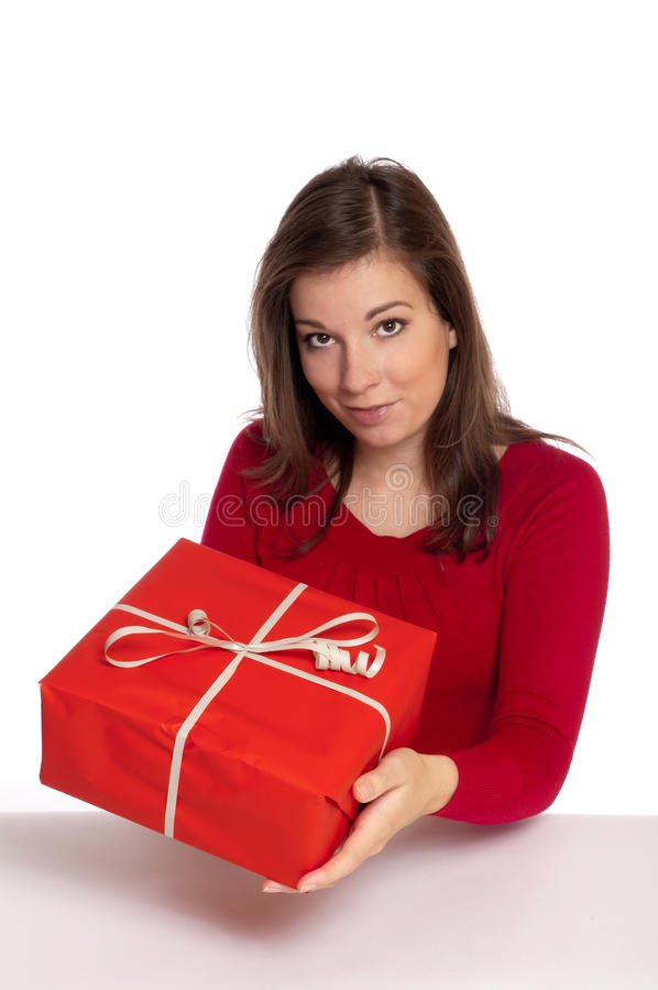 Download Women giving red gift stock image. Image of christmas - 16314937