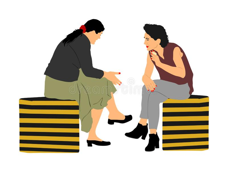 Women gossip at the break. Senior lady friends sitting on bench and talking in public park. Neighbors spread rumors. royalty free illustration
