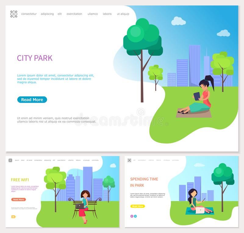 Spending Time in City Park with Free Wifi Vector. Women on the grass using laptop and phone, spending time in city park. Girl in office style sitting on the vector illustration