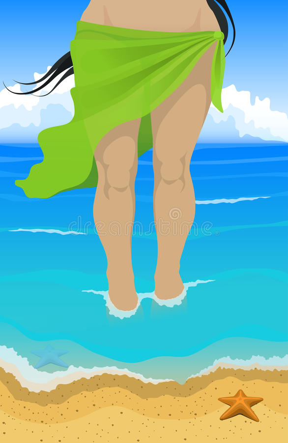 Women in the green pareo on the sea beach. Vector illustration. Slim tanned women in green pareo comes out of the ocean to the beach includes formats: EPS, JPG royalty free illustration