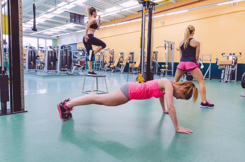 Women group training in a crossfit circuit royalty free stock photos