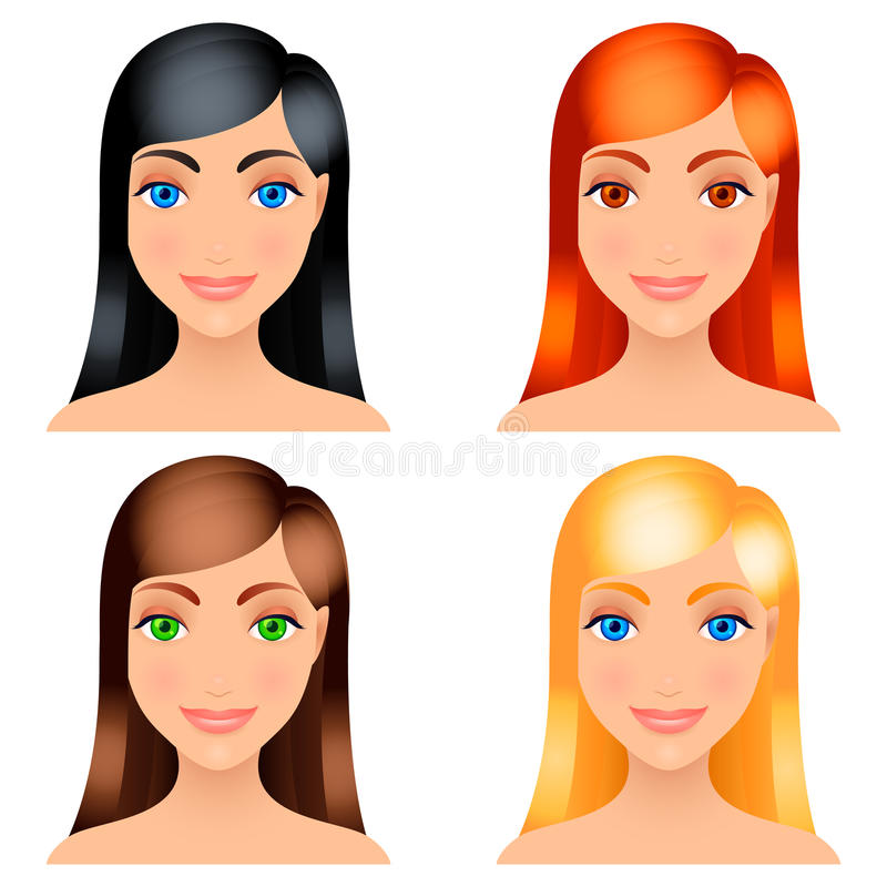 Women Hair Colors. Royalty Free Stock Photography