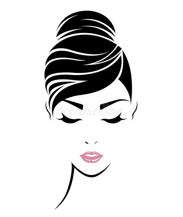 Women hair style icon, logo women face. Illustration of women hair style icon, logo women face on white background stock illustration