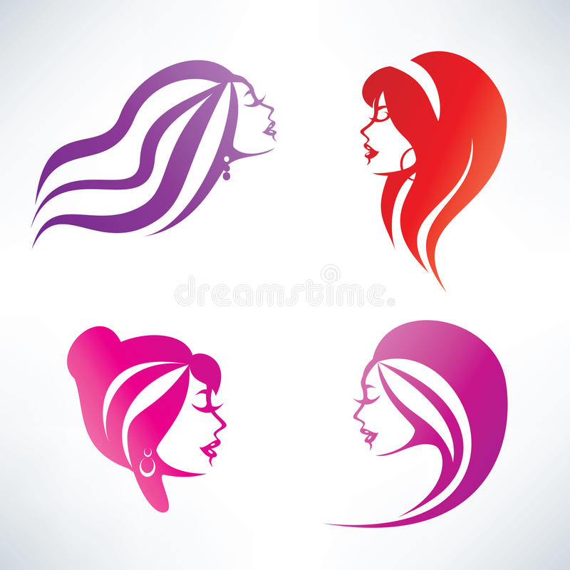 Women hairstyle. Isolated symbols collection