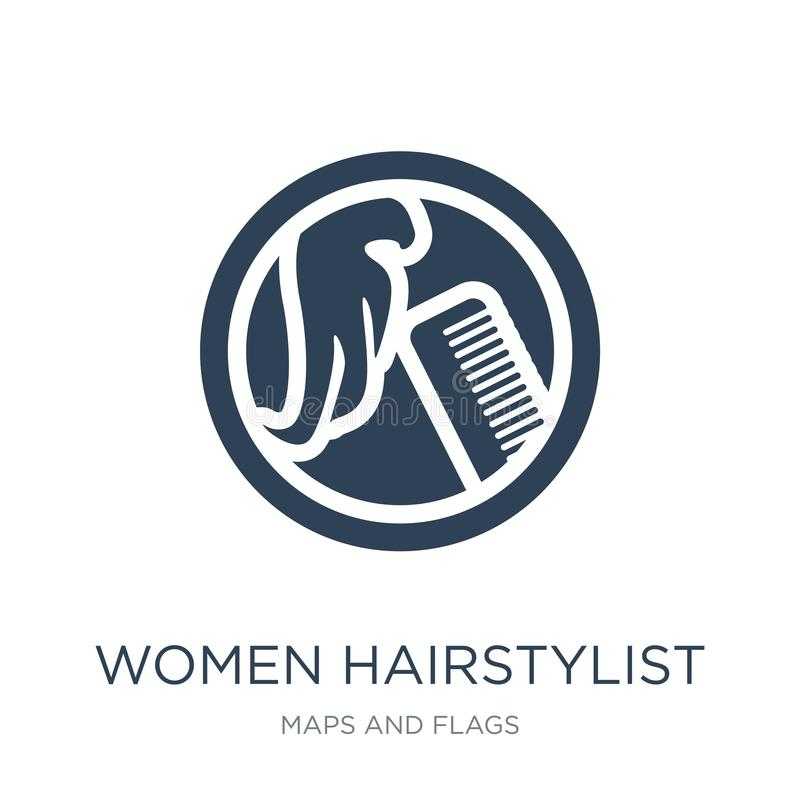 women hairstylist icon in trendy design style. women hairstylist icon isolated on white background. women hairstylist vector icon stock illustration