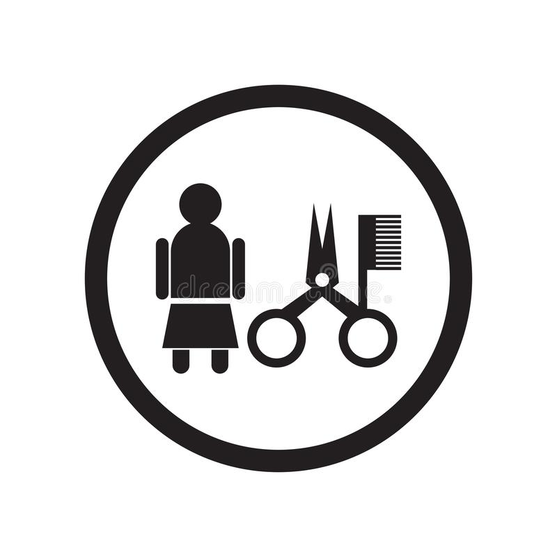 Women hairstylist icon vector sign and symbol isolated on white background, Women hairstylist logo concept stock illustration