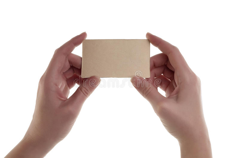 Women hand holding blank card stock images