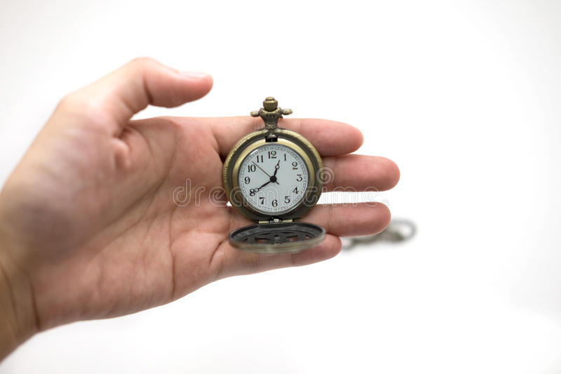 women of hand holding old silver pocket watch on white background, this image for people and retro concept stock photo