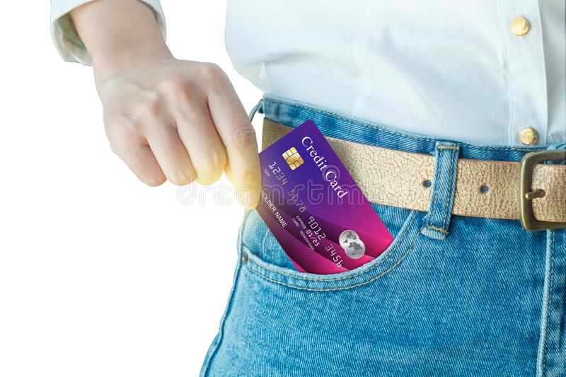 Women hand pick up realistic credit card stock photo