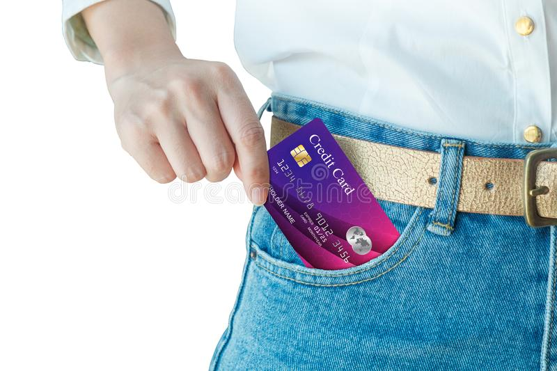Women hand pick up realistic credit card royalty free stock images