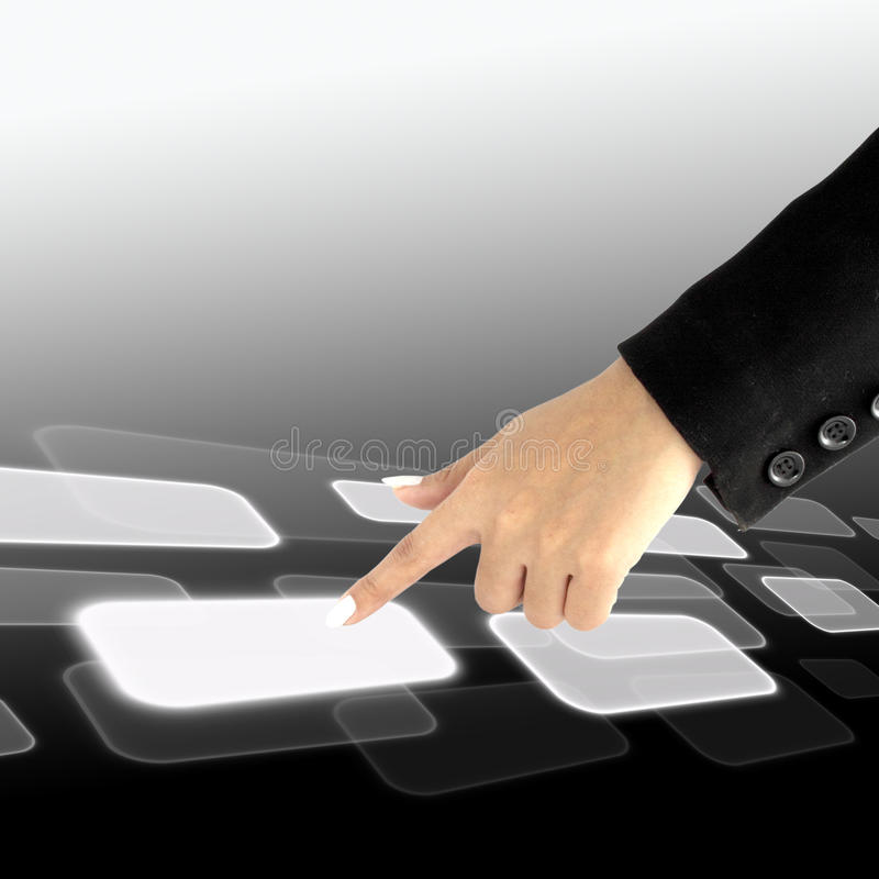 Download Women Hand Pushing A Button On A Touch Screen Stock Illustration - Image: 22776717