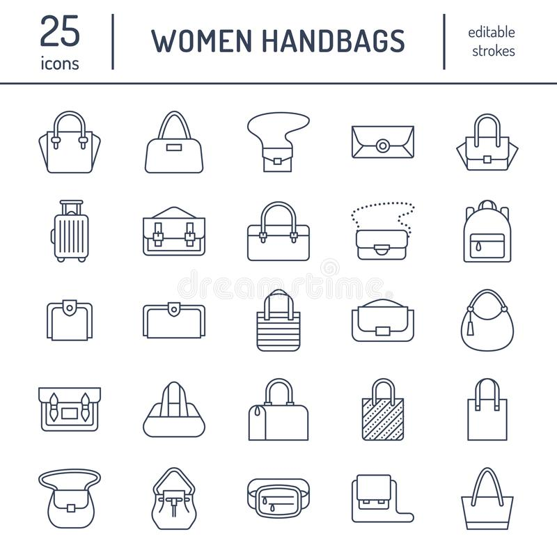 Women handbags flat line icons. Bags types - crossbody, backpacks, clutch, totes, hobo, leather briefcase, luggage stock illustration