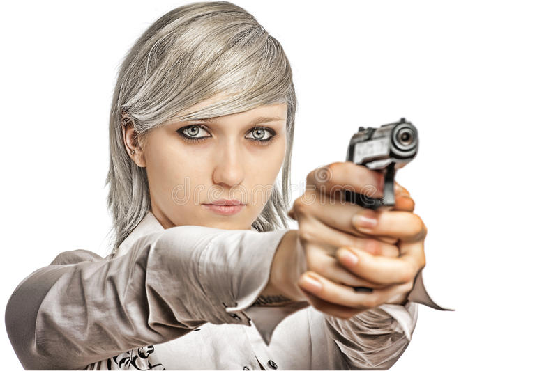 Download Women with handgun stock image. Image of hair, young - 10682963