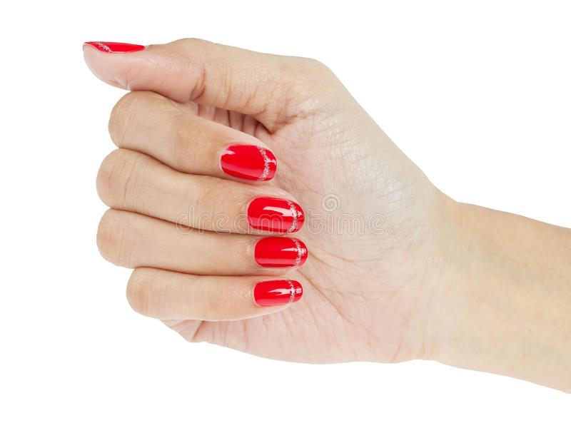 Women hands with nail manicure. On white royalty free stock photography