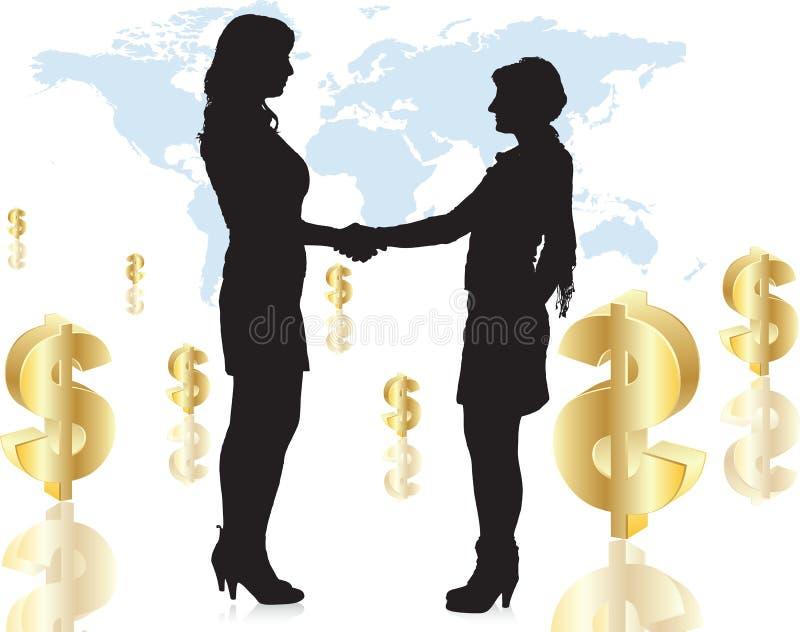Women handshake the hand royalty free illustration