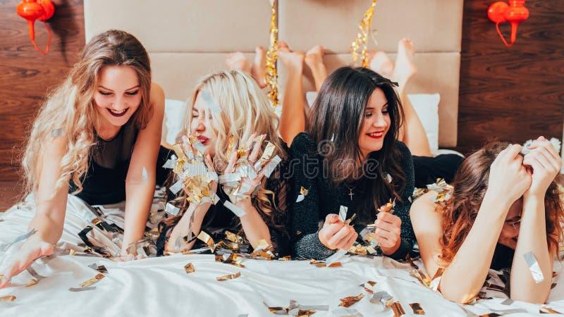 Women hangout fun great time bachelorette party stock photo