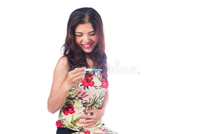 women happy results pregnancy test stock photos
