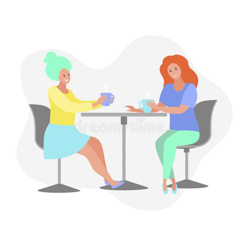 Women having coffee break, sitting at the table, drinking coffee, vector flat illustration royalty free illustration