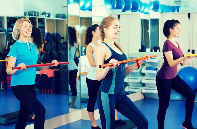Women having group aerobic train royalty free stock photography