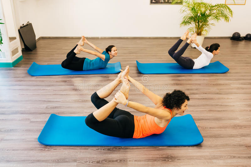 Women having pilates class indoor stock image
