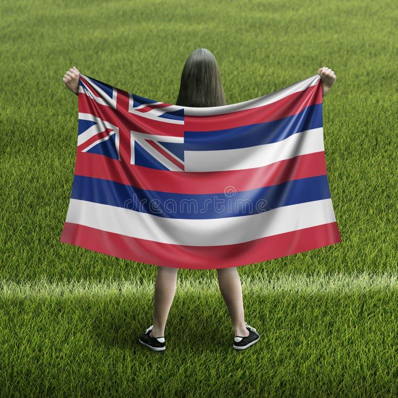 Women and Hawaii flag. Image of Women and Hawaii flag stock photo