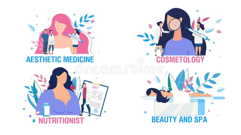 Women Health Care and Treatment People Scene Set stock illustration