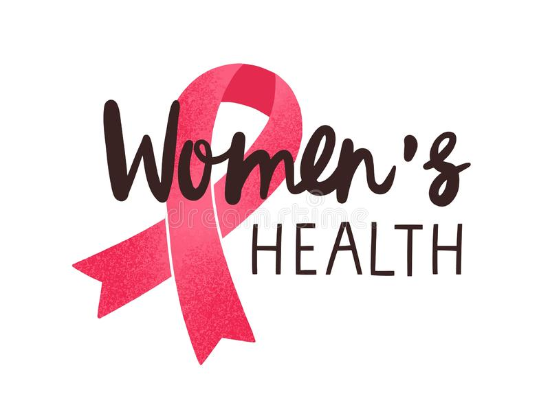 Women health handwritten vector lettering. Breast cancer awareness pink ribbon with calligraphic black inscription. Isolated on white. Women oncological disease vector illustration