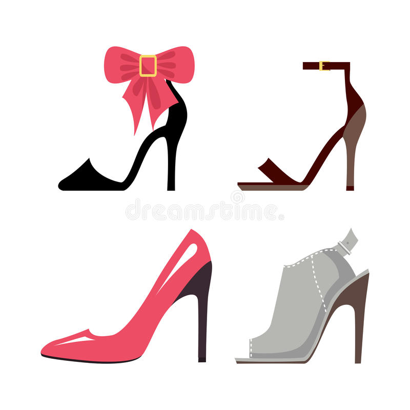 Women High-Heeled Shoes Isolated Illustrations Set stock illustration