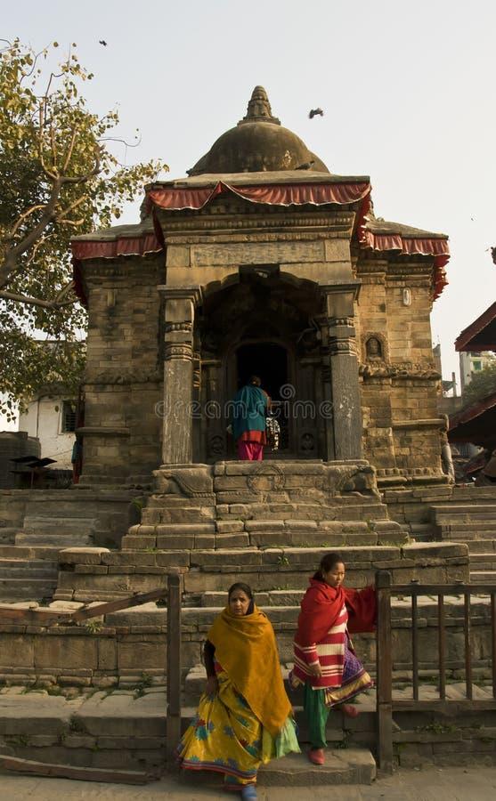 Women at the Hindu sanctuary royalty free stock photos