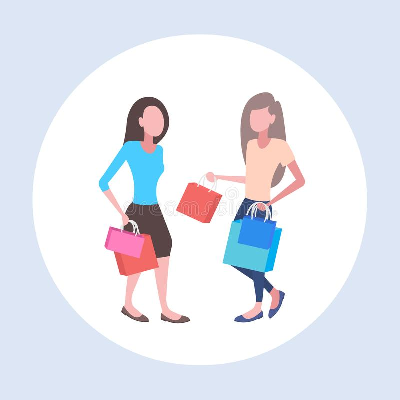 Women holding colorful paper bags couple girls carrying purchases big sale shopping concept flat full length stock illustration