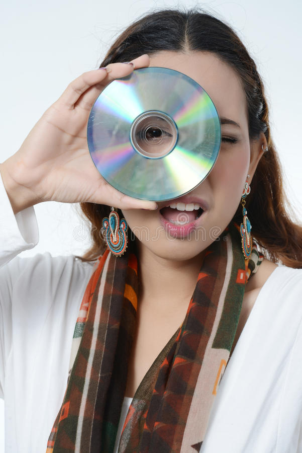 Women Holding Data Disc Royalty Free Stock Photography