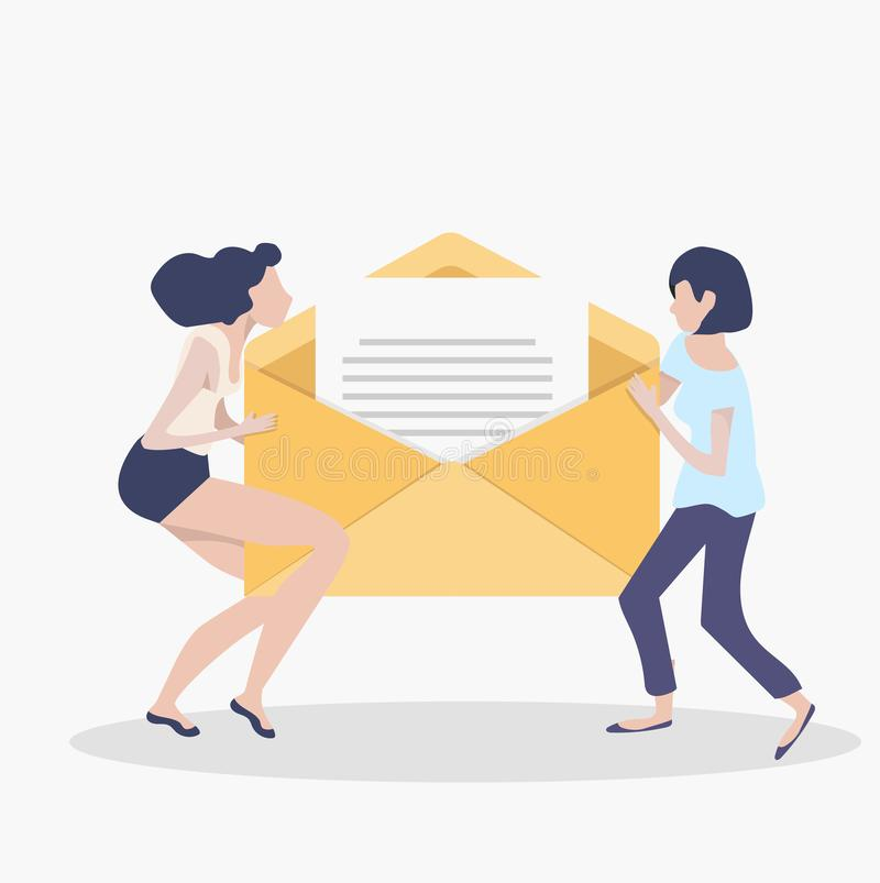 Women holding newsletter in opening envelope teamwork concept royalty free illustration