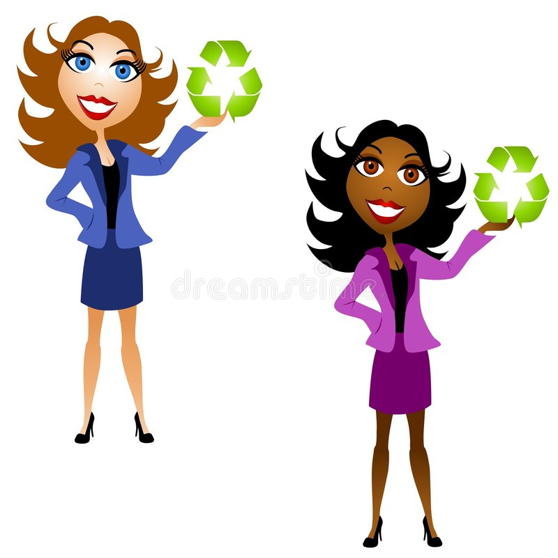 Women Holding Recycle Symbols. An illustration featuring your choice of 2 women holding recycling symbols royalty free illustration
