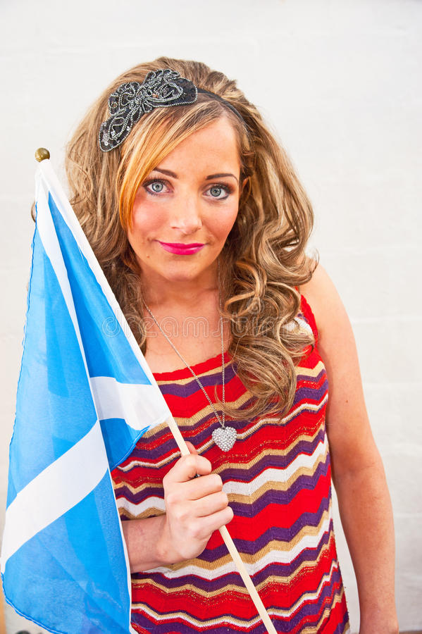 Download Women Holding Scottish Flag. Stock Image - Image of female, saltire: 28882969
