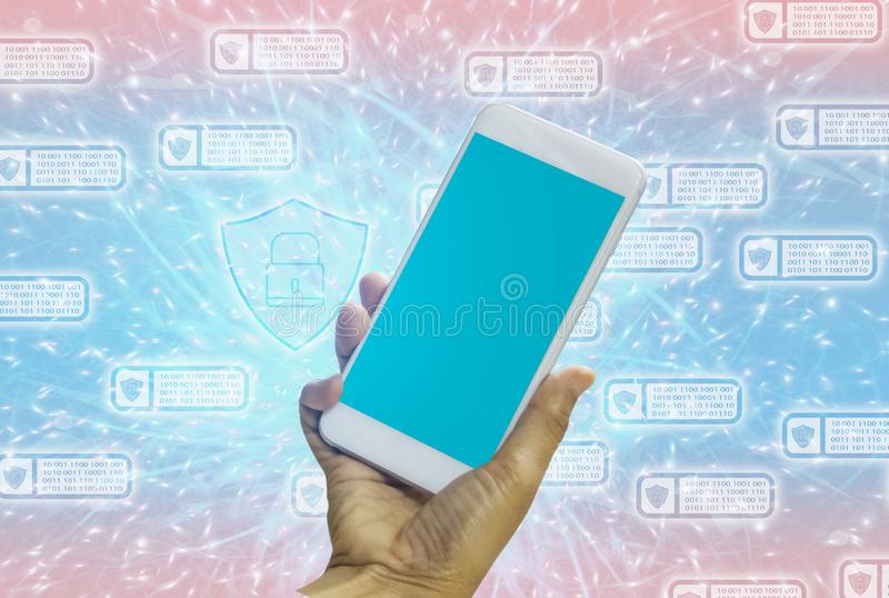 Women holding smartphone in hands with blue screen on bright blue-pink pastel background. With concept of technology and royalty free illustration