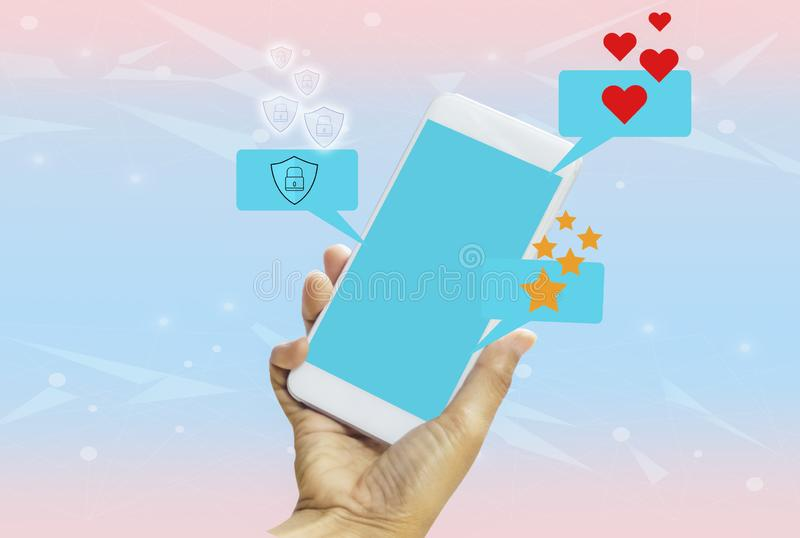 Women holding smartphone in hands with blue screen on bright blue-pink pastel background. With concept of technology and vector illustration