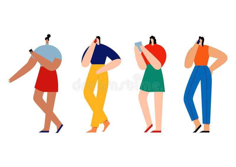 Women holding smartphones and talking. Group of female cartoon characters with mobile phones. Flat vector illustration. Use in Web Project and Applications stock illustration