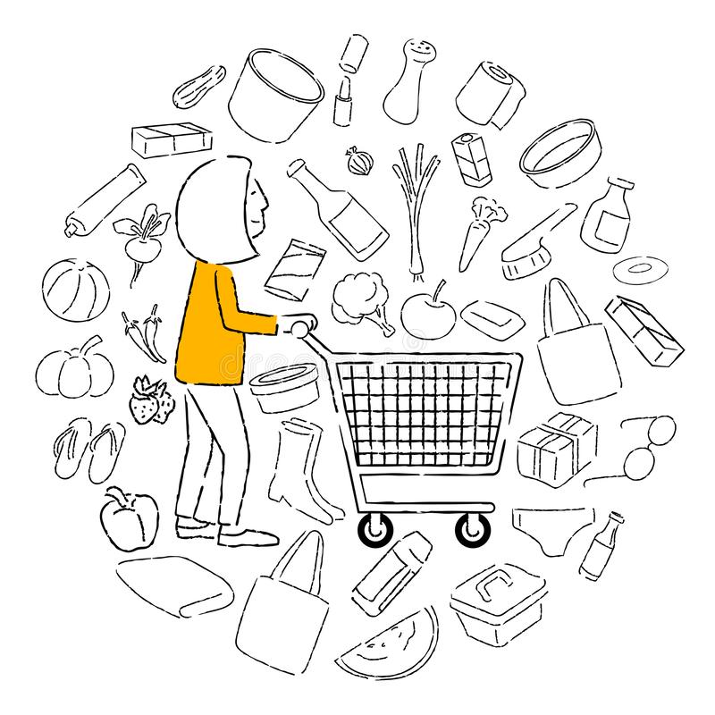 Women housewives with carts in supermarkets. Doodle style paintings, symbols and icons, various items, vector illustration and design stock illustration