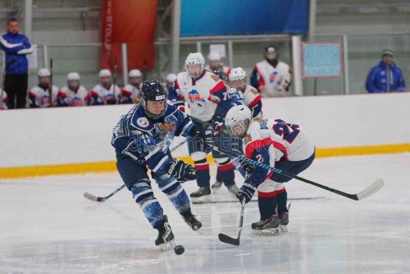 Women ice hockey match Dinamo St. Petersburg vs Biryusa Krasnoyarsk. St. Petersburg, Russia - February 17, 2016: Women's ice hockey match Dinamo Saint-Petersburg stock photos
