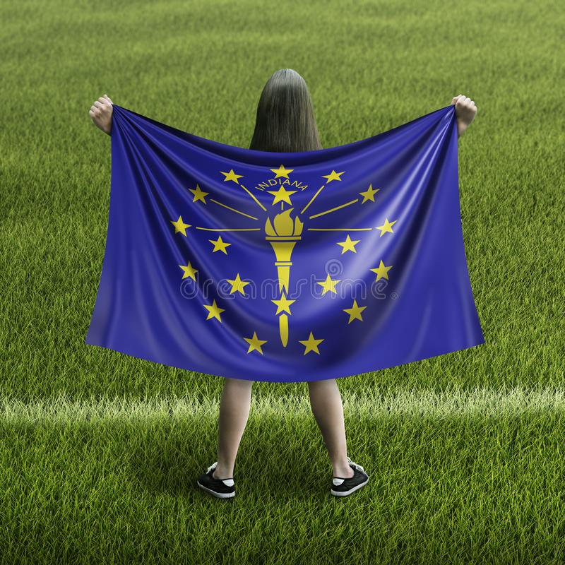 Women and Indiana flag. Image of Women and Indiana flag stock photos