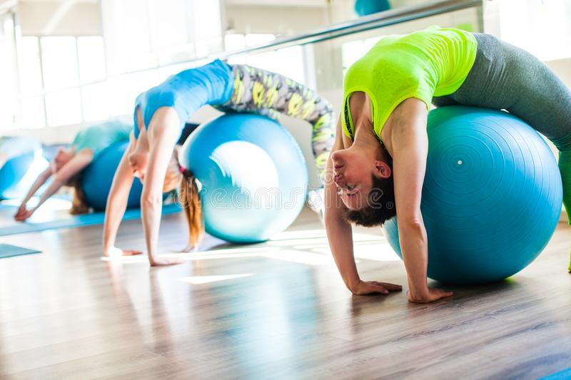 Women involved in Pilates royalty free stock photo