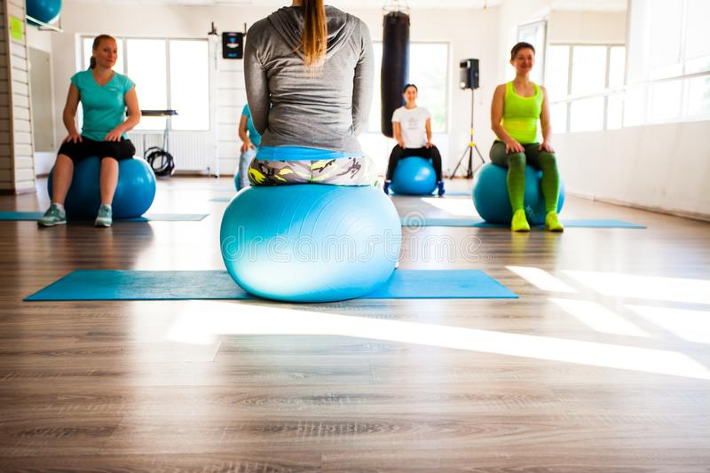 Women involved in Pilates stock image