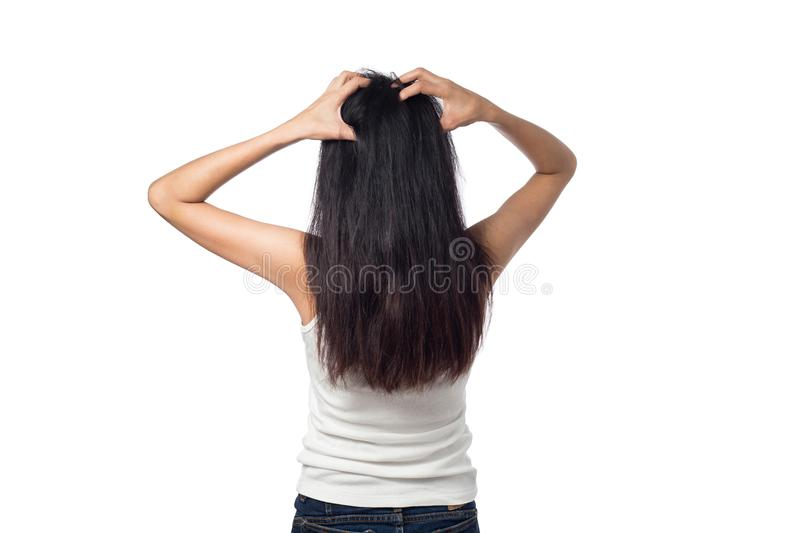 Women itching scalp itchy his hair. Isolated on white background royalty free stock photos