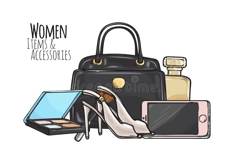 Women Items and Accessories. Dark Female Objects vector illustration