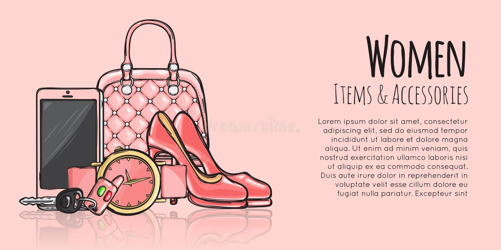 Women Items and Accessories Fashionable Web Banner vector illustration