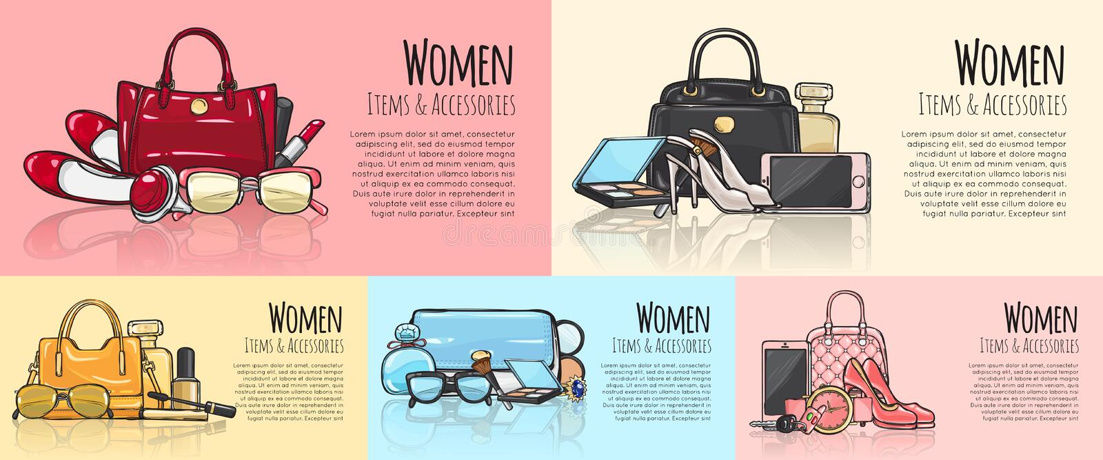 Women Items and Accessories. Set of Pictures. royalty free illustration